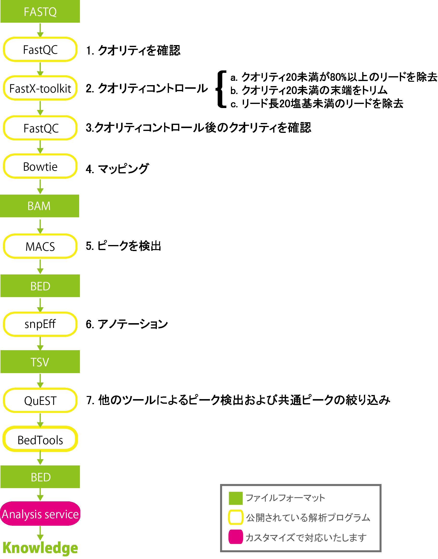 1.クオリティを確認、2.クオリティコントロール、3.クオリティコントロール後のクオリティを確認、4.マッピング、5.ピークを検出、6.アノテーション、7.他のツールによるピーク検出および共通ピークの絞り込み